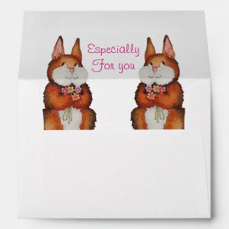 brown Bunny rabbit colorful flowers cute design Envelope