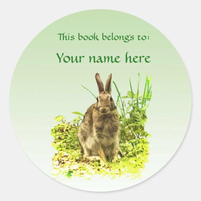 Brown Bunny Rabbit Green Grass Bookplate