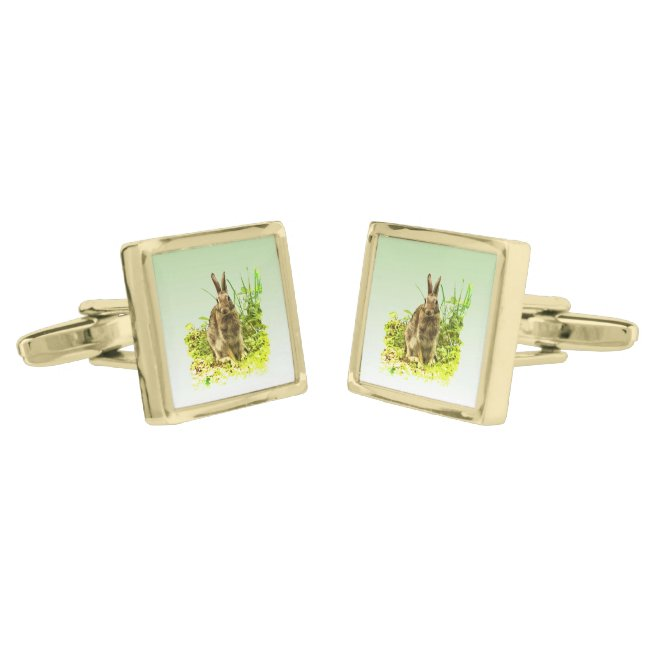 Brown Bunny Rabbit in Green Grass Cufflinks