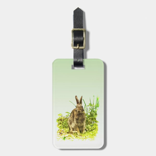 Brown Bunny Rabbit in Green Grass Luggage Tag