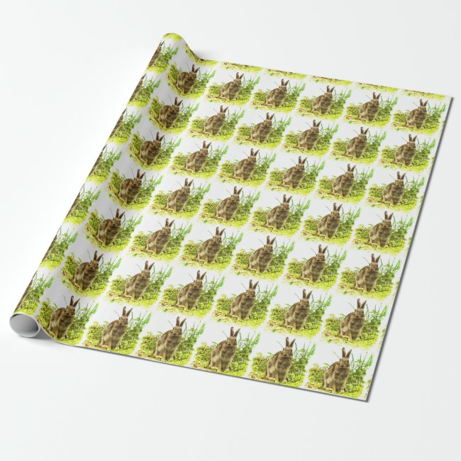 Brown Bunny Rabbit in Green Grass Wrapping Paper