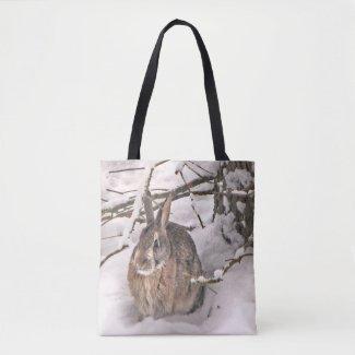 Brown Bunny Rabbit in Snow Animal Tote Bag