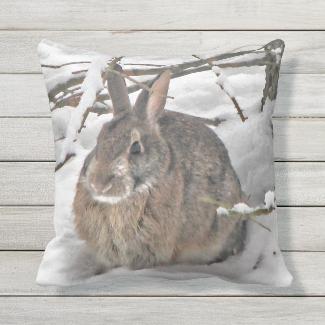 Brown Bunny Rabbit in Snow Outdoor Pillow