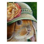Brown Bunny Rabbit in Spring Bonnet Watercolor Art Postcard
