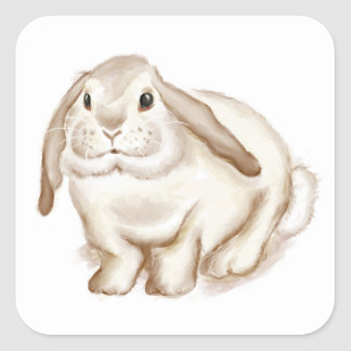 Brown Bunny Watercolor Square Sticker