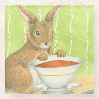 Brown Bunny with Cup of Coffee Glass Coaster