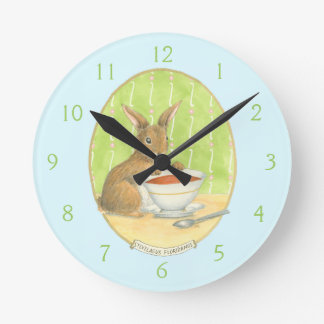 Brown Bunny with Cup of Coffee Round Clock