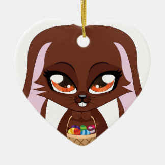 Brown bunny with Easter eggs Double-Sided Heart Ceramic Christmas Ornament