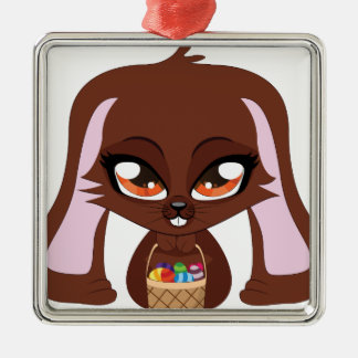 Brown bunny with Easter eggs Square Metal Christmas Ornament