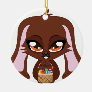 Brown bunny with Easter eggs Double-Sided Ceramic Round Christmas Ornament