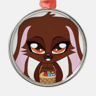 Brown bunny with Easter eggs Round Metal Christmas Ornament