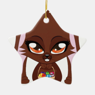 Brown bunny with Easter eggs Double-Sided Star Ceramic Christmas Ornament