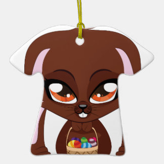 Brown bunny with Easter eggs Double-Sided T-Shirt Ceramic Christmas Ornament