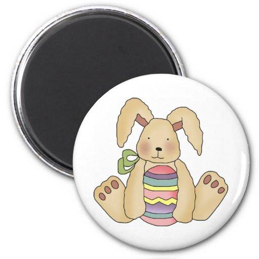 Brown Bunny With Egg T-shirts and Gifts 2 Inch Round Magnet