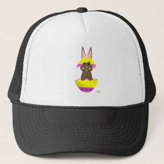 Brown Bunny Yellow Decorated Easter Egg Trucker Hat