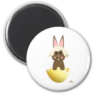 Brown Bunny Yellow Easter Egg Magnets