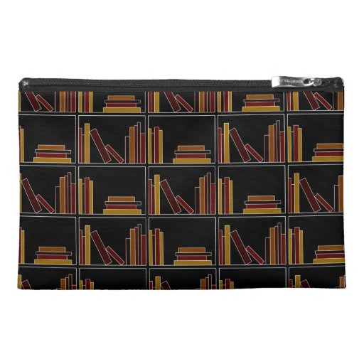Brown, Burgundy and Mustard Color Books on Shelf. Travel Accessory Bag