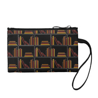 Brown, Burgundy and Mustard Color Books on Shelf. Coin Purses