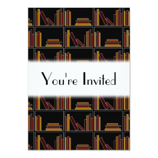 Brown, Burgundy and Mustard Color Books on Shelf. Personalized Invitation