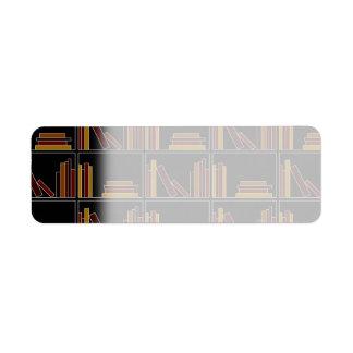 Brown, Burgundy and Mustard Color Books on Shelf. Custom Return Address Labels