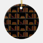 Brown, Burgundy and Mustard Color Books on Shelf. Christmas Ornament