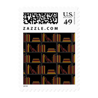 Brown, Burgundy and Mustard Color Books on Shelf. Postage Stamps