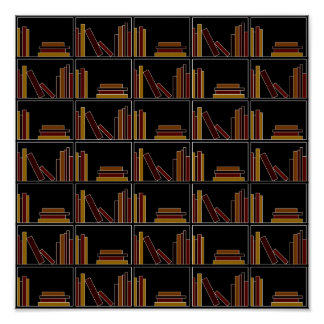 Brown, Burgundy and Mustard Color Books on Shelf. Print