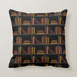 Brown, Burgundy and Mustard Color Books on Shelf. Throw Pillow