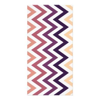 Brown Burgundy Chevron Geometric Designs Color Photo Card