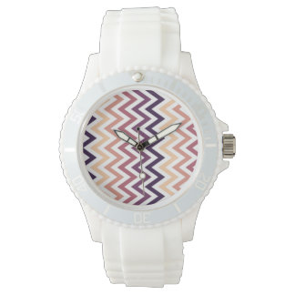 Brown Burgundy Chevron Geometric Designs Color Wristwatches