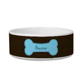 Brown Burlap Blue Bone Boy Dog Bowl