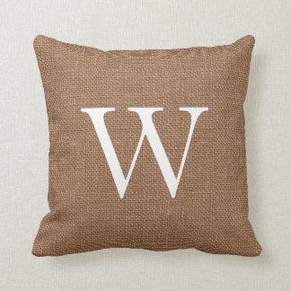 Brown Burlap Custom Monogrammed Throw Pillows