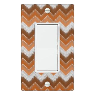CozyLivin Brown Burnt Orange White Ikat Zigzag Pattern Light Switch Cover