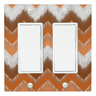 Brown Burnt Orange White Ikat Zigzag Pattern Light Switch Cover