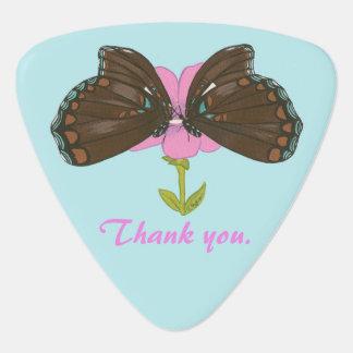 Brown Butterflies Pink Flower Wedding Guitar Picks