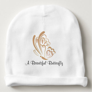 Brown Butterfly Embellishment Baby Beanie