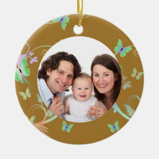 Brown Butterfly Frame Christmas Ornament