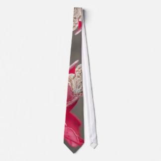 Brown butterfly on a pink flower petal neck tie