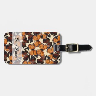 Brown butterfly pattern bag tag