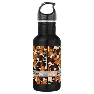 Brown butterfly pattern stainless steel water bottle