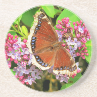 Brown Butterfly with Blue Spots on Lilacs Sandstone Coaster
