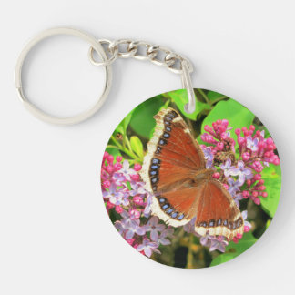 Brown butterfly with spots on Lilacs Keychain