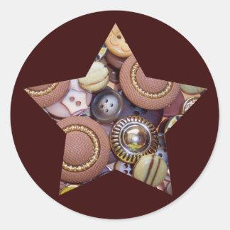 Brown Button Star Classic Round Sticker