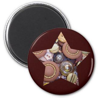 Brown Button Star Magnet
