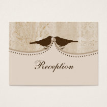 brown cage, love birds wedding reception cards