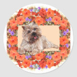 Brown Cairn Terrier in Floral Stickers