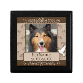 Brown Calligraph Swirls Custom Pet Sympathy Keepsake Box