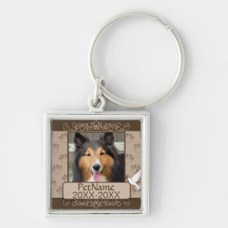 Brown Calligraph Swirls Custom Pet Sympathy Silver-Colored Square Keychain