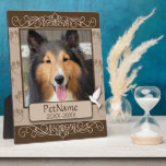 """Brown Calligraph Swirls Custom Pet Sympathy Plaque<br><div class=""""desc"""">Designed in dark and light brown with a dove on the banner and decorative calligraphy swirl frames and paw prints shaped like hearts on the background. For dogs, cats, or any pets with paws. Pay tribute to a loved pet with these personalized memorial gifts keepsakes or offer your condolences with...</div>"""