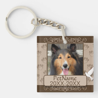 Brown Calligraph Swirls Custom Pet Sympathy Single-Sided Square Acrylic Keychain